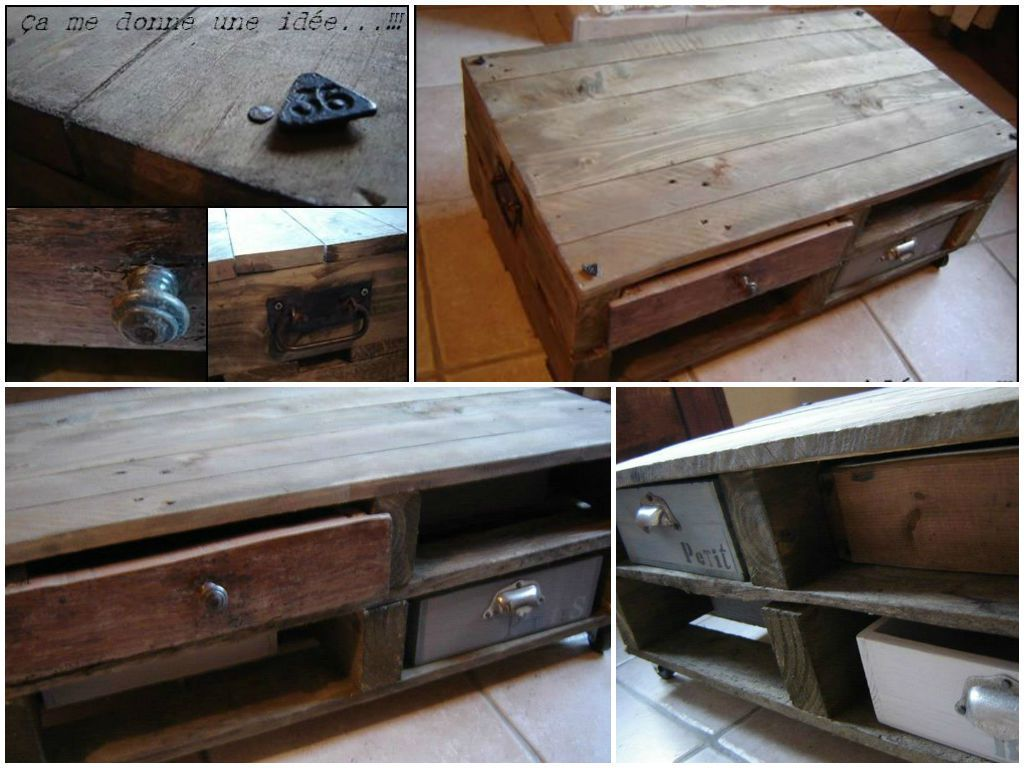 Table basse en palette pallet coffee table 1001 pallets - Table basse palette roulettes ...