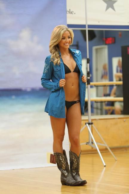 Sydney Durso Kicks Off Cowboys Cheerleader Bikini Fittings