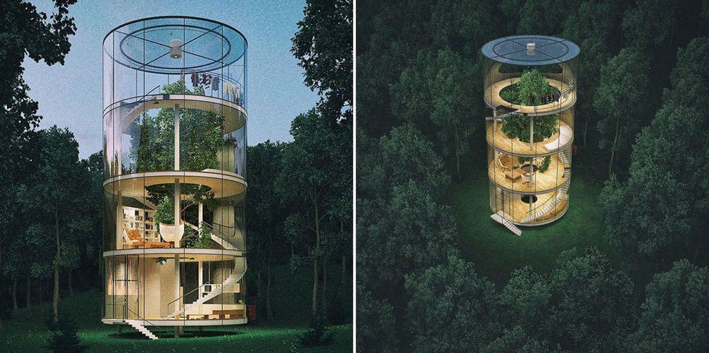 Remarkable tubular glass house built around tree - The tubular glass house ...