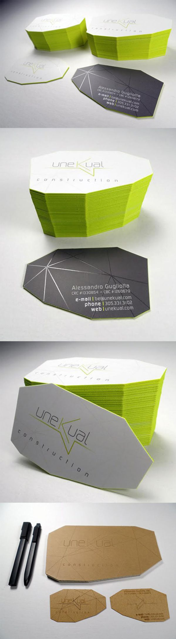 Unusual Faceted Die Cut Business Card Business Cards
