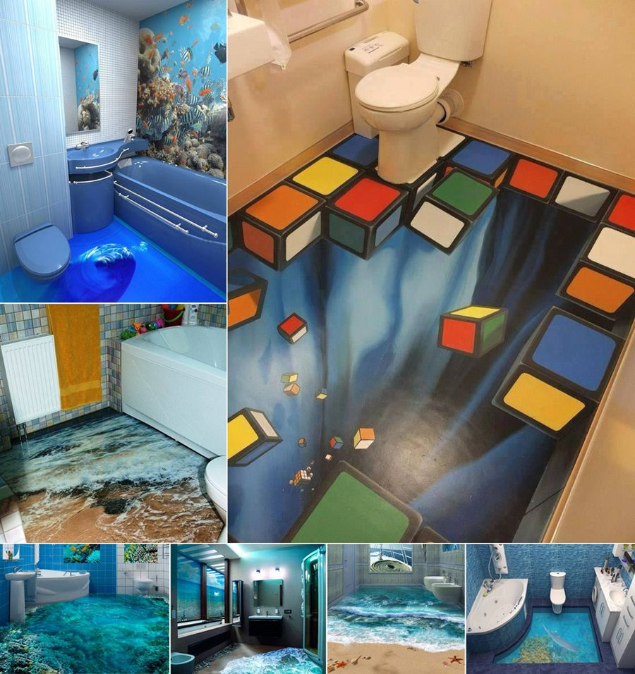 13 amazing 3d floor designs for your bathroom for Bathroom design 3d