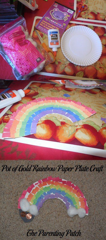 rainbow paper craft pot of gold rainbow paper plate craft parenting patch 2809