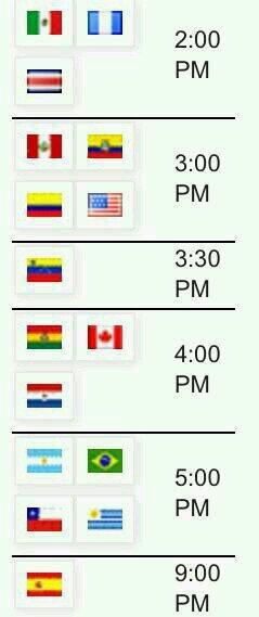 Horarios para el partido de hoy Horario de partidos de hoy