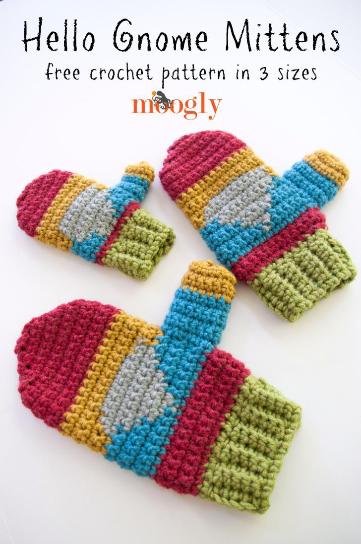 Hello Gnome Mittens: Free #Crochet Pattern on Moogly!