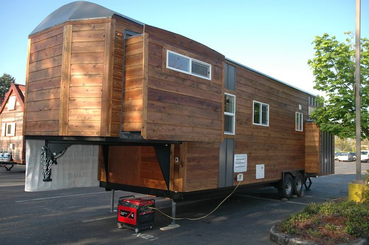 Tiny house with slide outs built on a gooseneck trailer for Small homes built on trailers