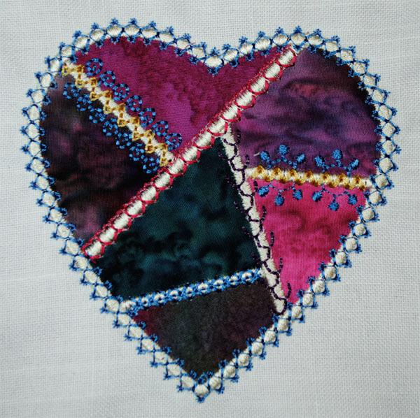 Crazy Patch Embroidery How To Stitch A Crazy Heart Two Ways