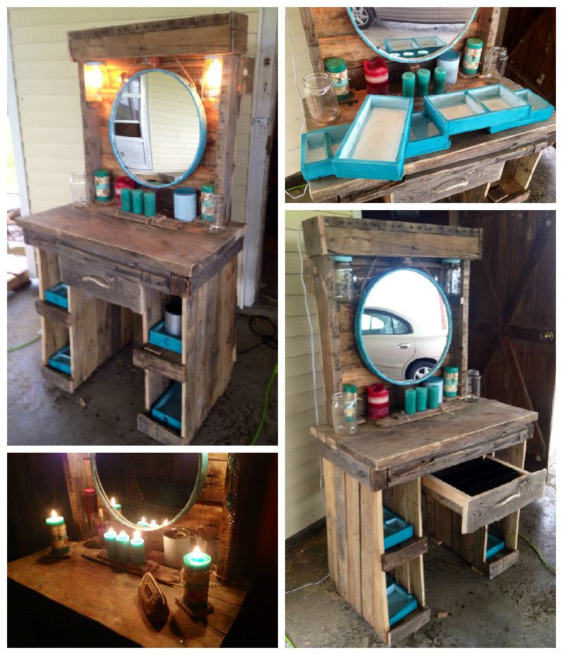 Makeup Vanity Made From Reclaimed Wooden Pallets