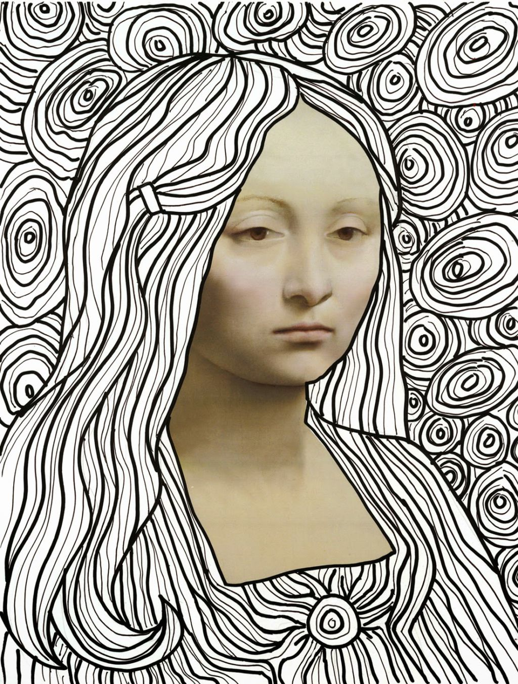 Contour Line Drawing Of Mona Lisa : Art projects for kids leonardo line drawing template