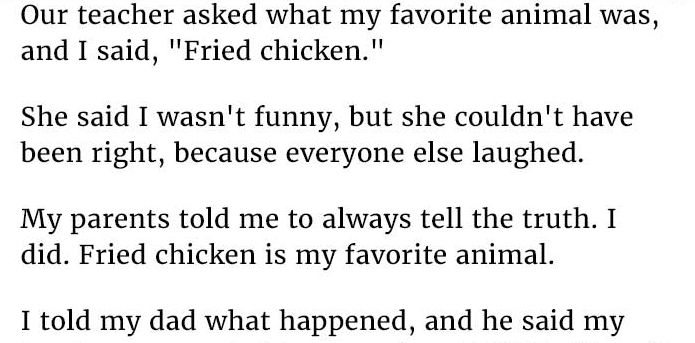 """Our Teacher Asked What My Favorite Animal Was: """"Our Teacher Asked What My Favorite Animal Was And I Said"""